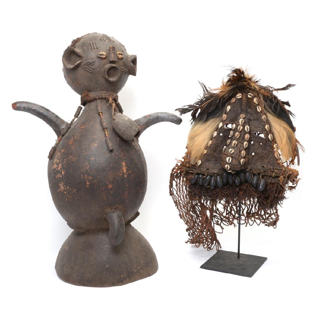 Songye Power Figure, African Woven Mask with Shell and