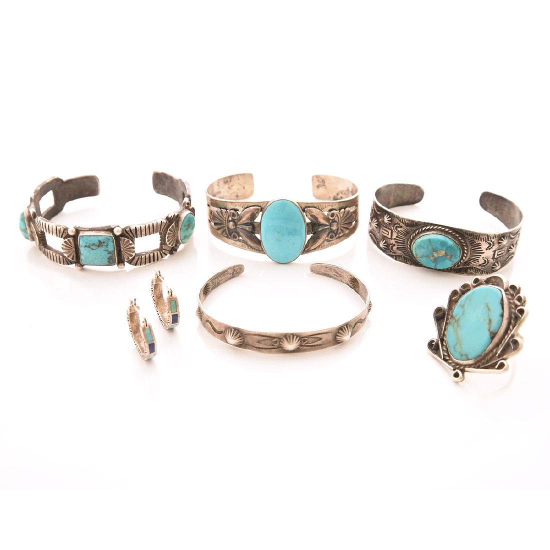 Collection of Native American Jewelry Items.