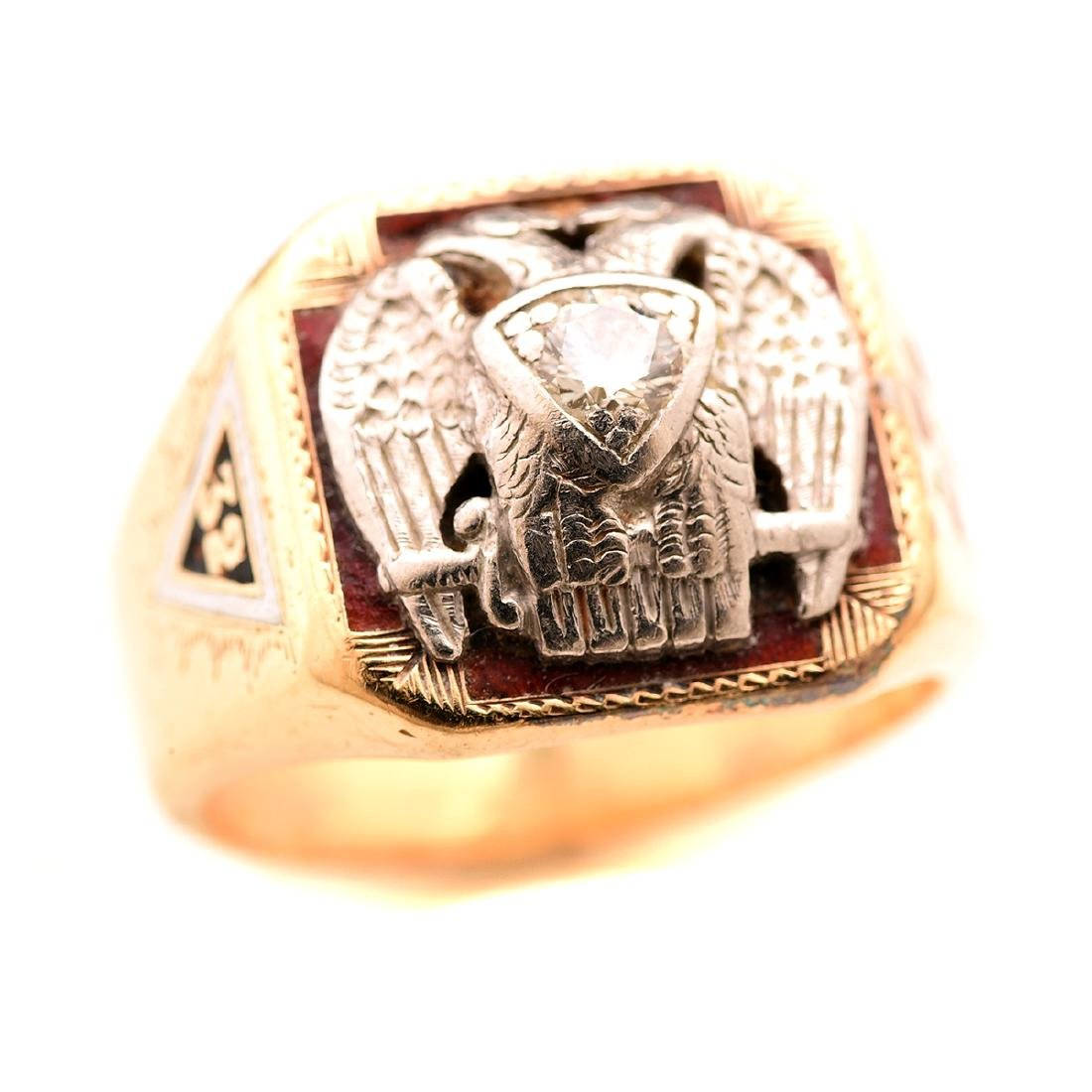 Masonic, Diamond, 14k Gold Ring.