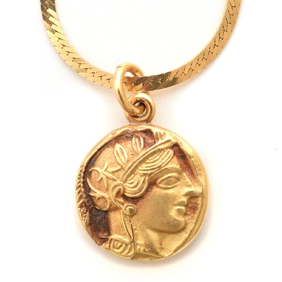 14k Yellow Gold, Greek Coin Necklace.