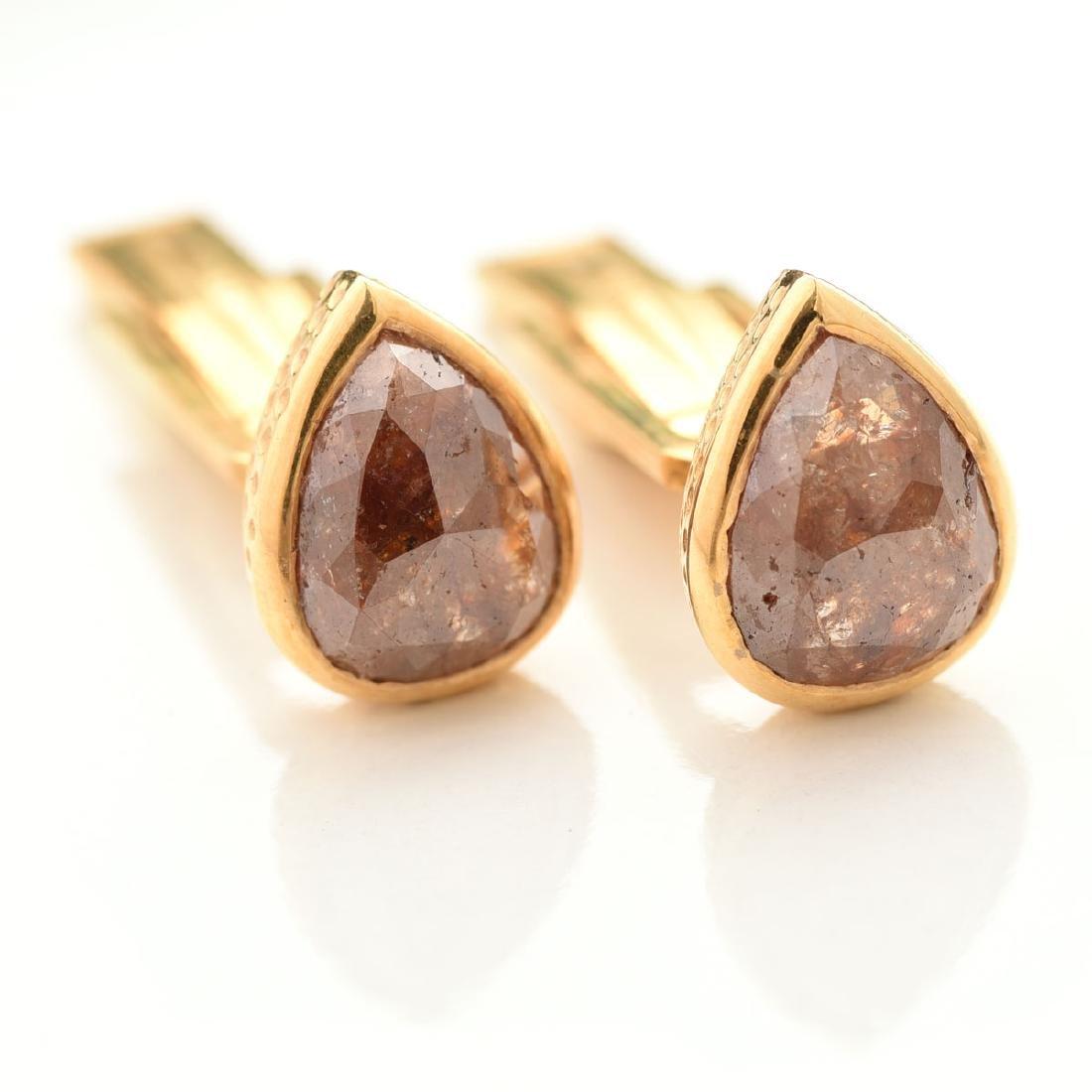 Pair of Diamond, 18k Yellow Gold Cufflinks.