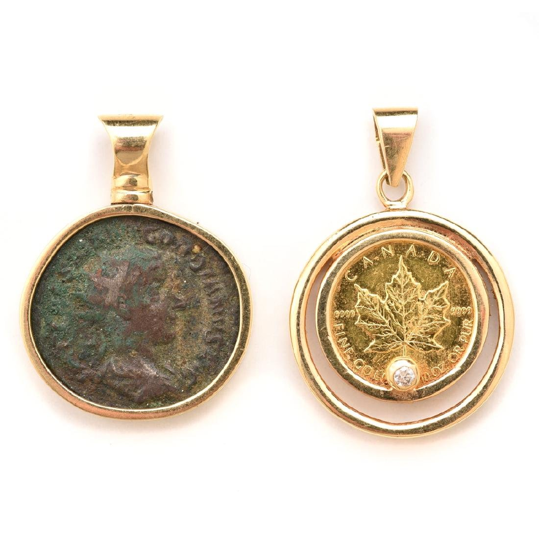 Collection of 18k Gold, Coin Pendants.