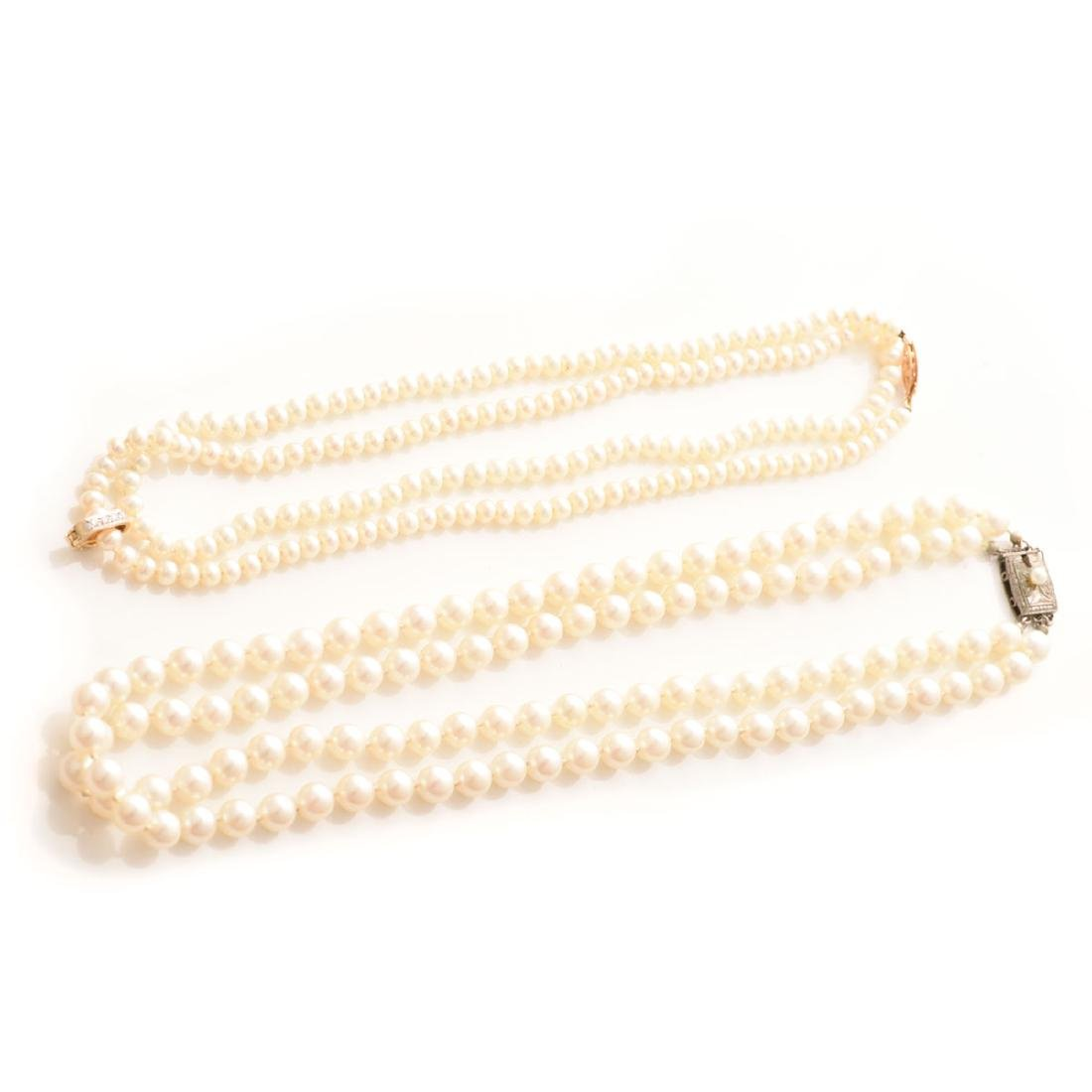 Collection of Diamond, Cultured Pearl, 14k Necklaces.