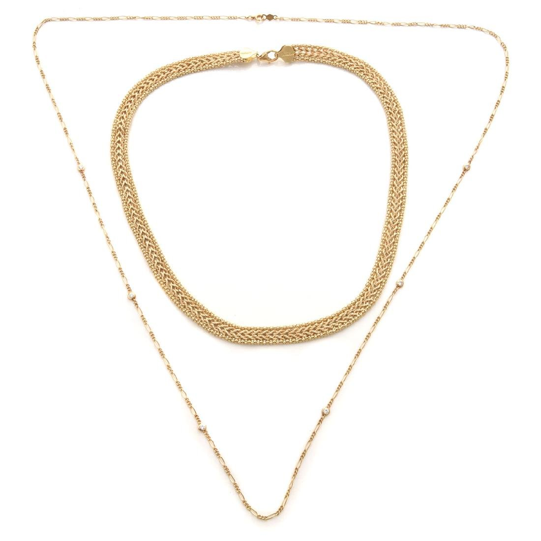Collection of Diamond, 14k Gold, Necklaces.