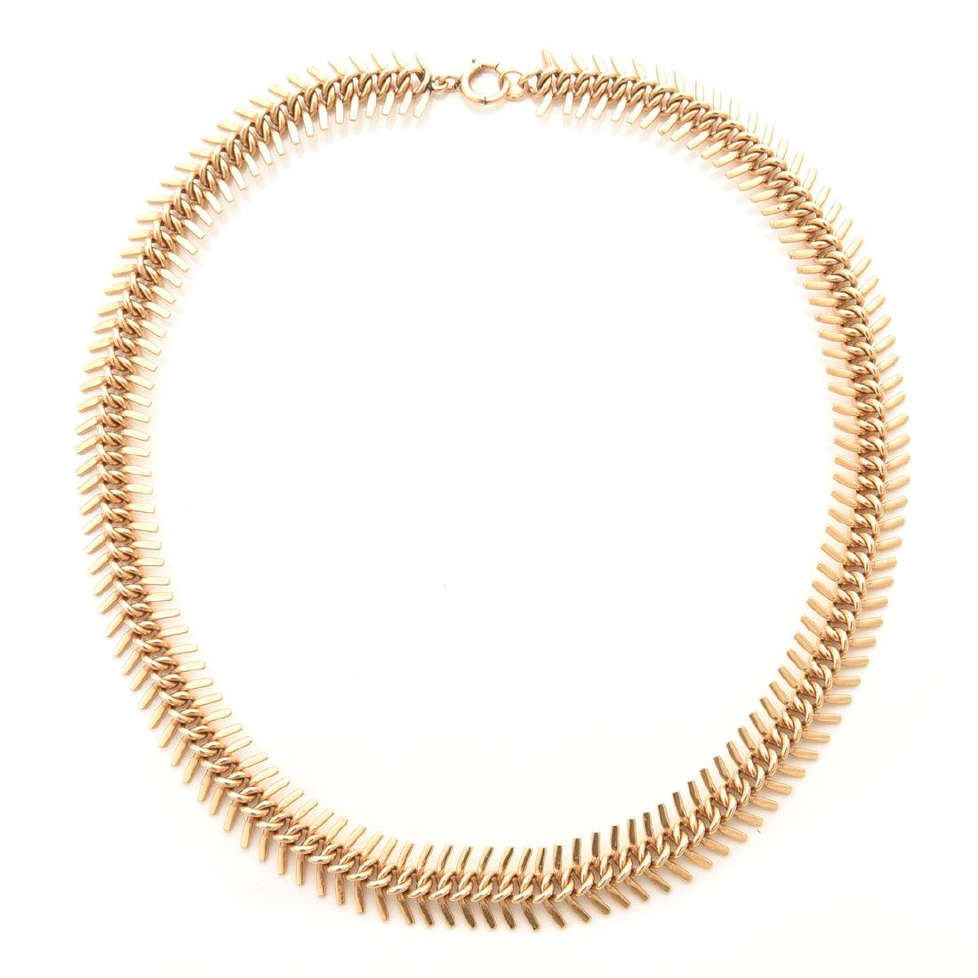14k Yellow Gold Fancy Link Necklace.