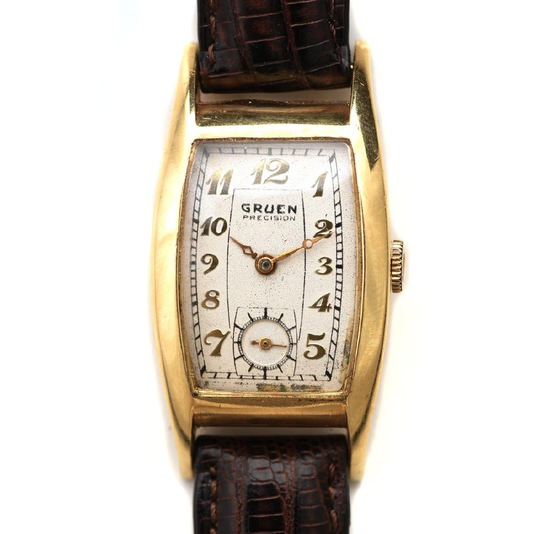 Gruen Curvex 14k, Leather Wristwatch.