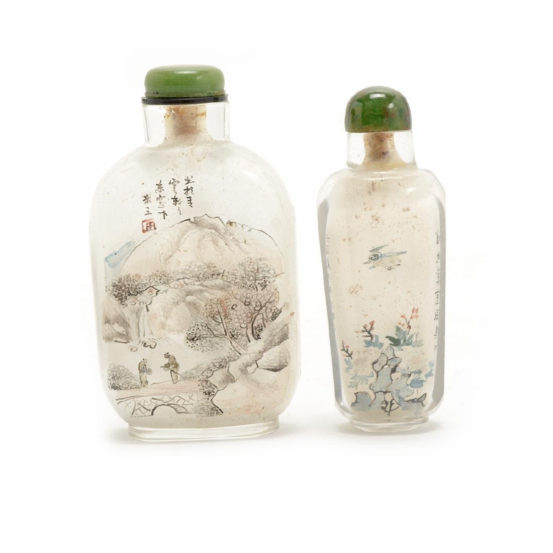 Two Inside Painted Glass Snuff Bottles, Early 20th C