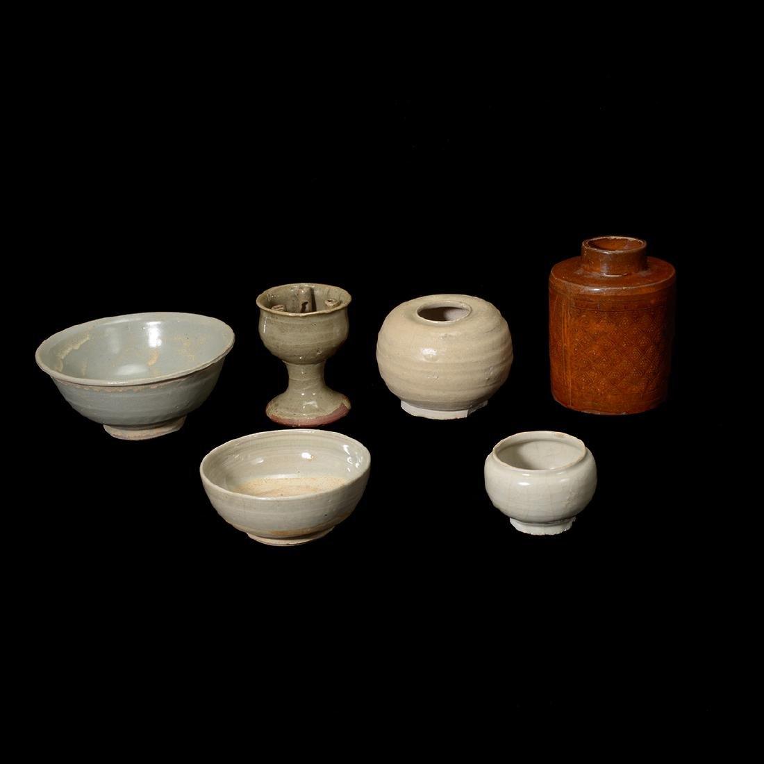 Six Crackle Glazed Ceramics