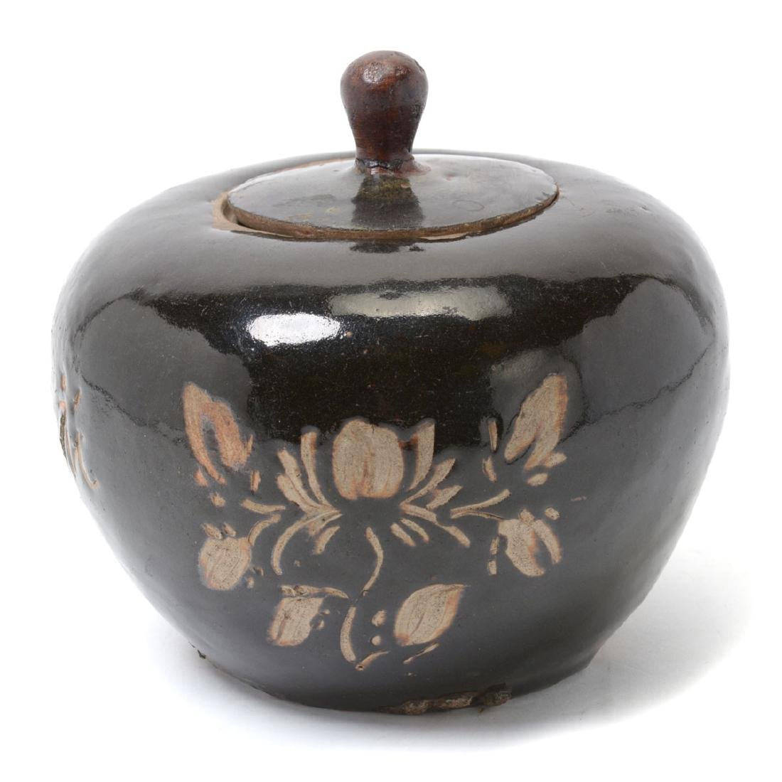 Black Glazed Ceramic Covered Jar