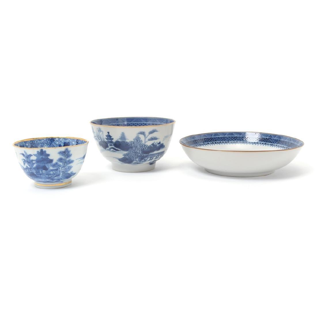 Three Chinese Export Underglaze Blue Porcelains