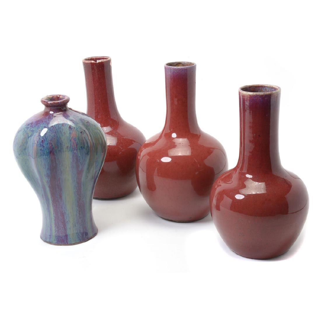 Four FlambÈ Glazed Vases, Late Qing/Early Republic