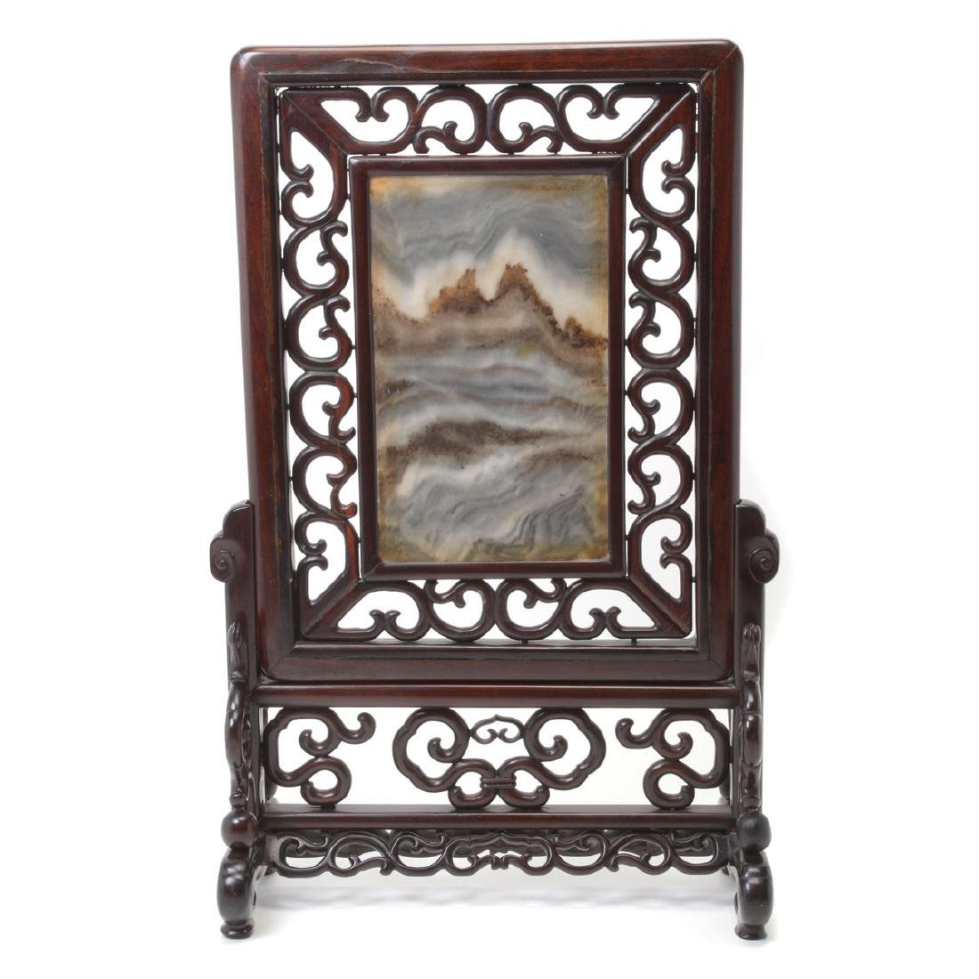 Carved Rosewood Table Screen with Marble Plaque*