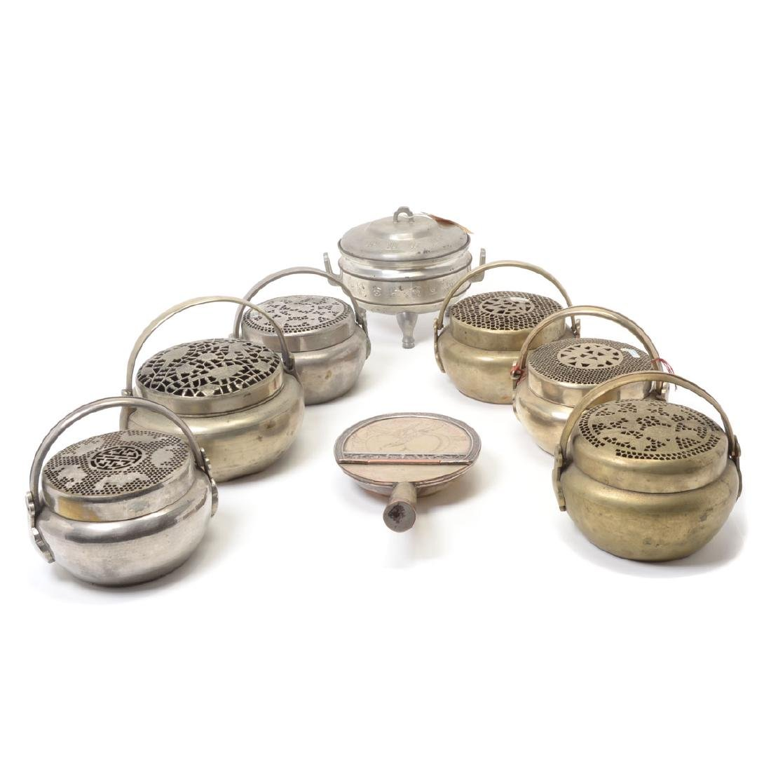 Group of Metal Hand Warmers and Censer