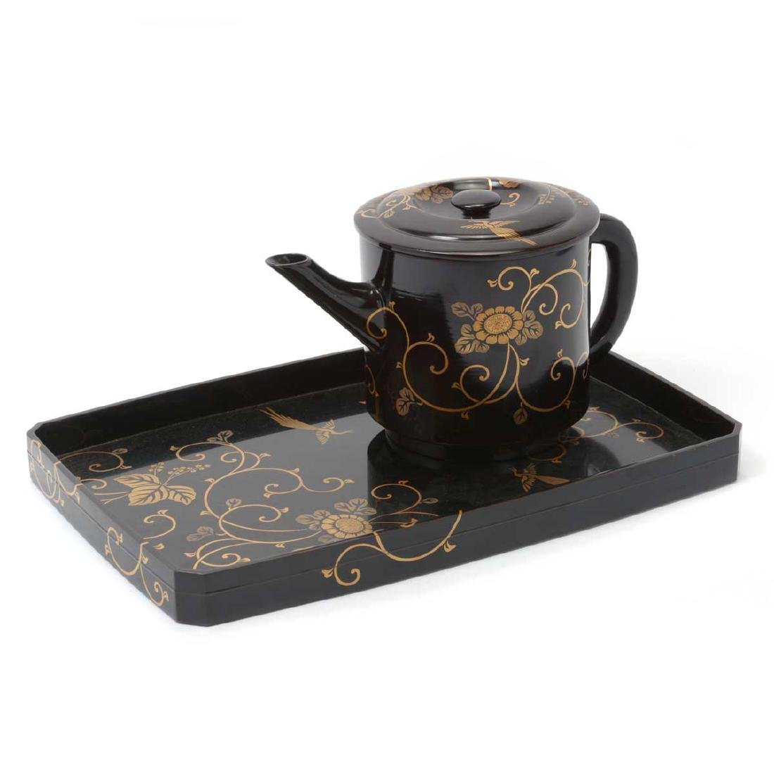 Japanese Lacquered Teapot and Serving Tray, Meiji