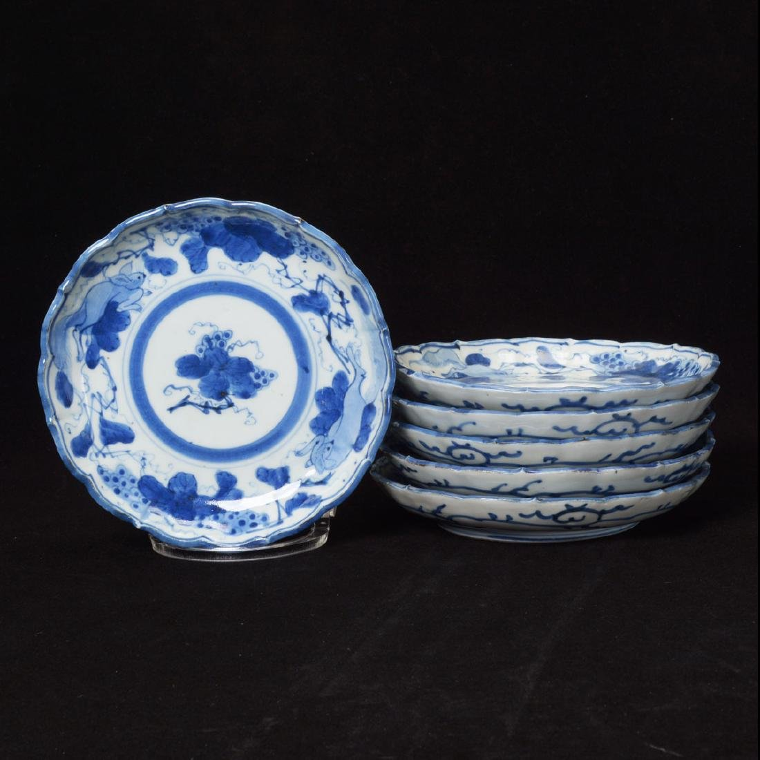 Six Arita Underglaze Blue Dishes, Edo Period
