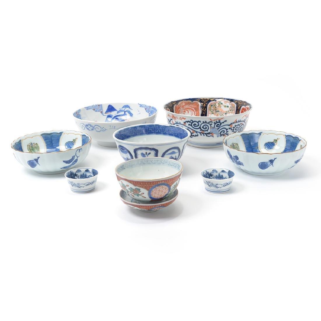 Eight Japanese Enameled Porcelains