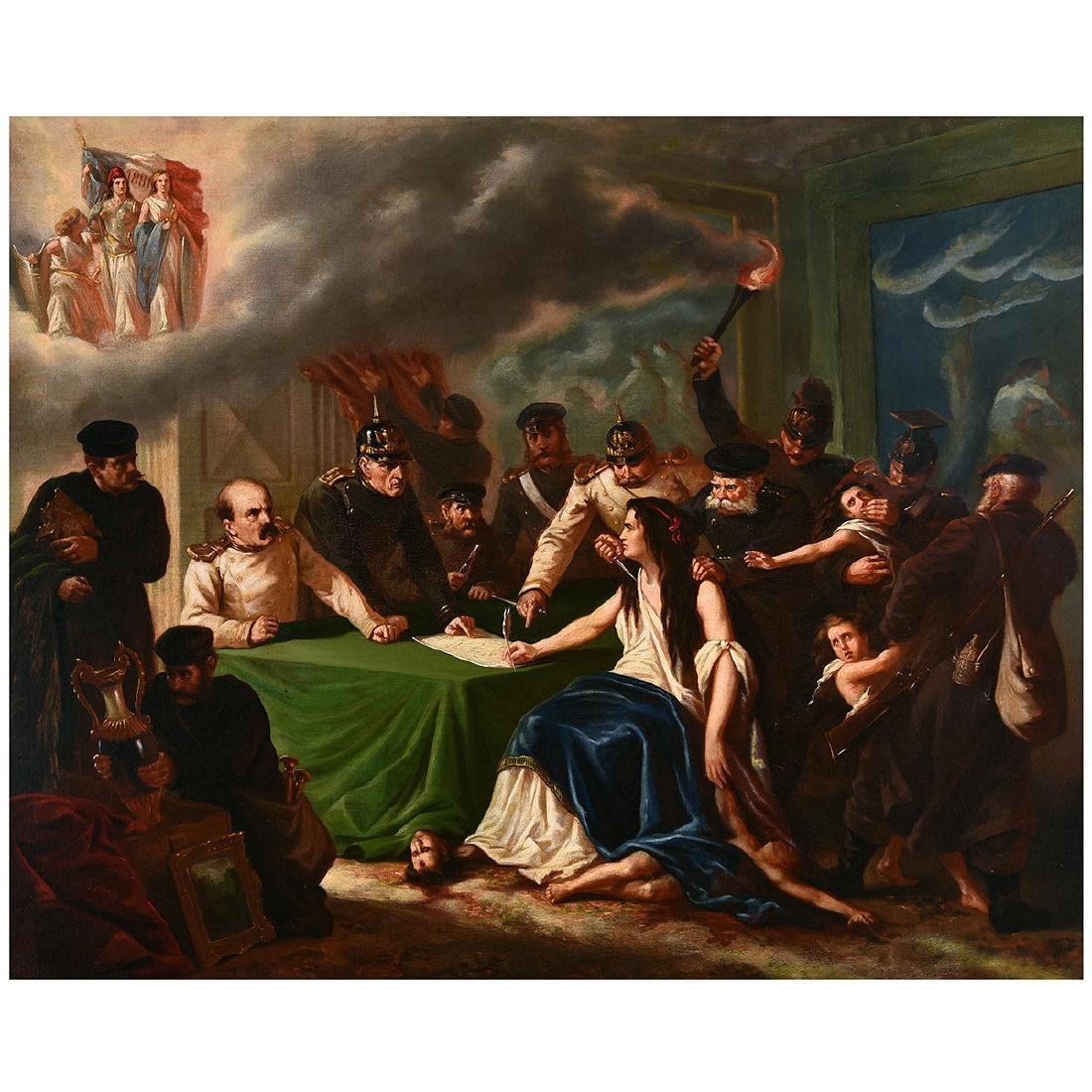 """European School """"The Defeat of France"""" oil on canvas"""