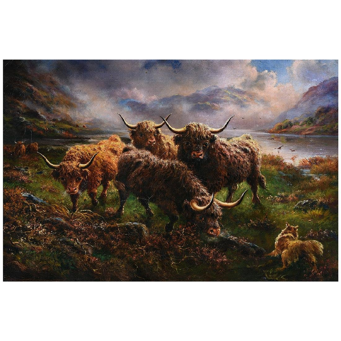 "J.T. Hughes ""Highland Cattle"" oil on canvas"