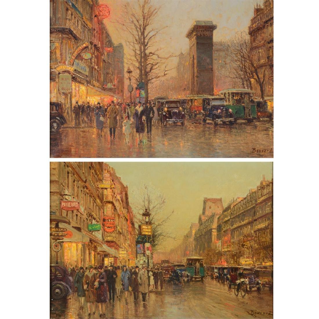 "Style of Antoine Bouvard 2 ""Paris Street Scene"" oil on"