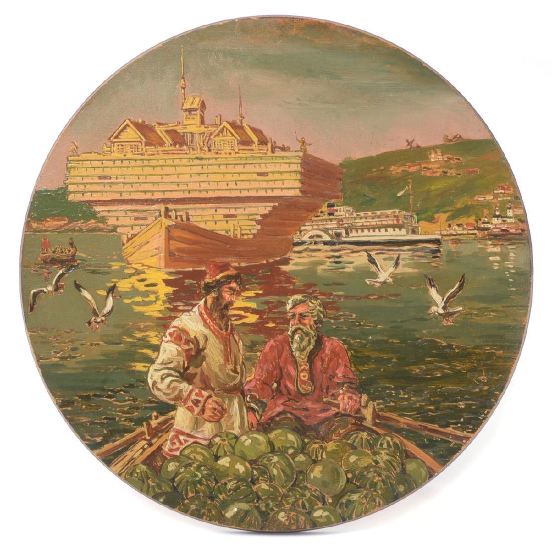 """Russian School """"Watermelon Harvest: River Scene"""" oil on"""