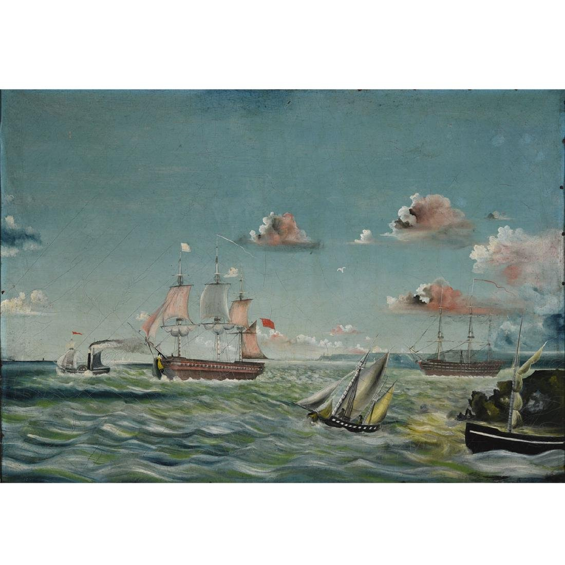 """American School """"Ships of the Coast"""" oil on canvas"""