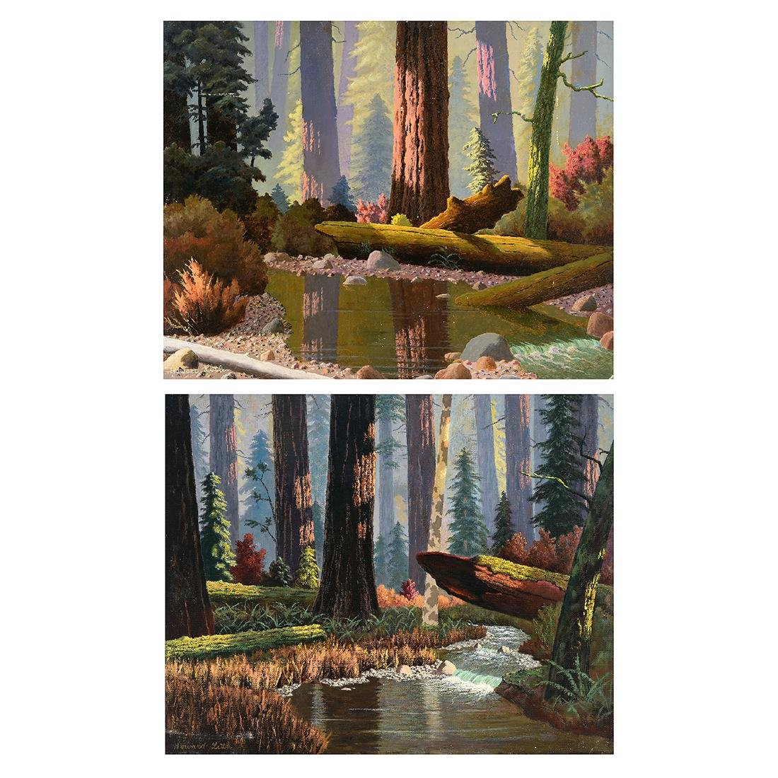 "Howard Little 2 ""Forest Scenes"" oil on masonite"