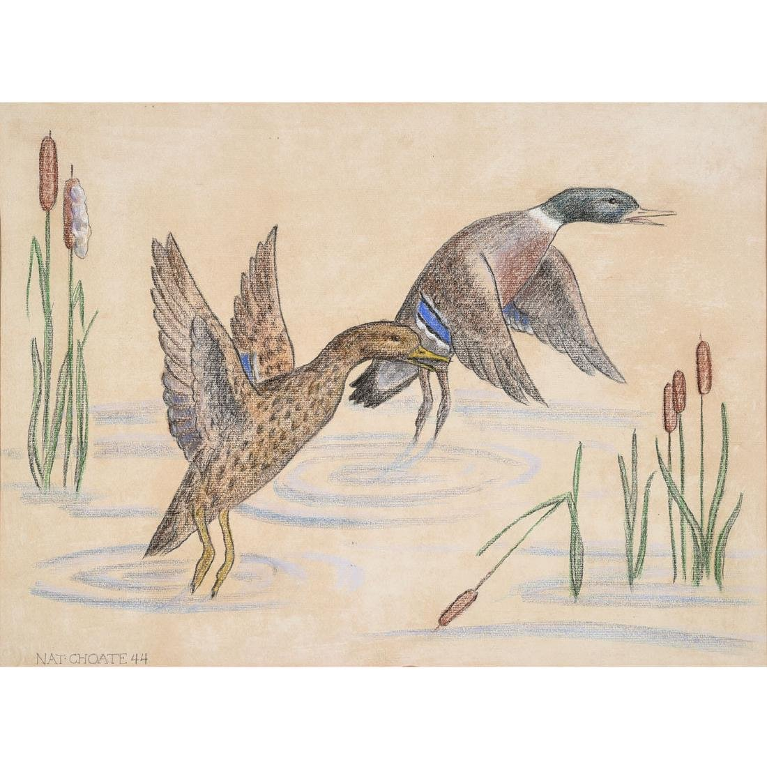 "Nathaniel Choate ""Ducks in Flight"" mixed media drawing"