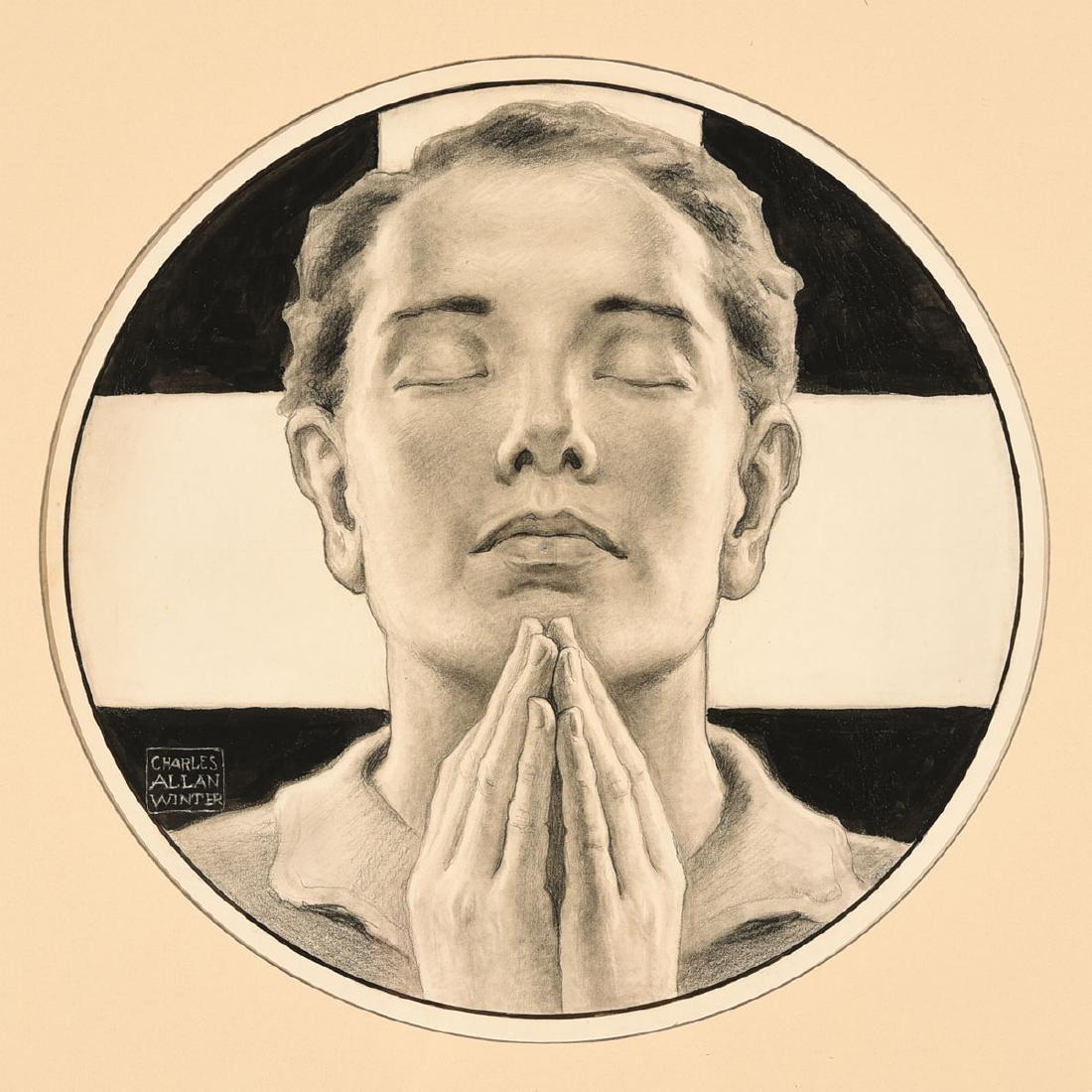 "Charles Allen Winter ""In Prayer"" mixed media on paper"
