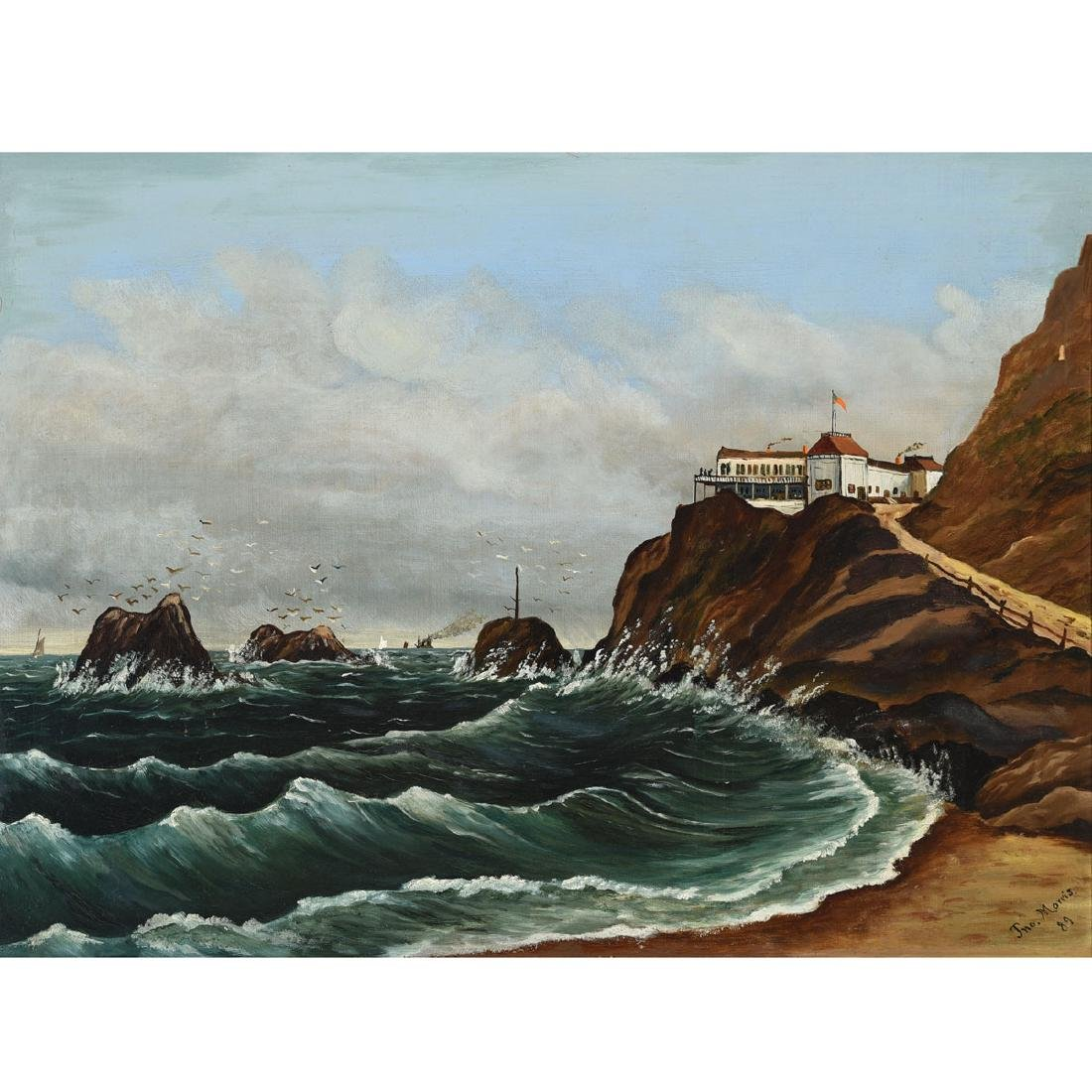 Framed Oil on Canvas, View of Cliff House with