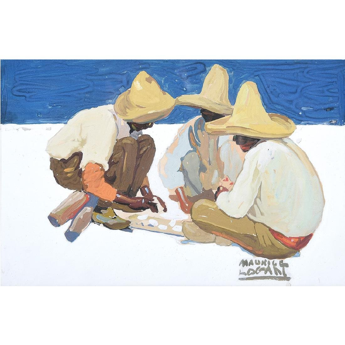 "Maurice Logan ""Mexican Street Game"" gouache on paper"