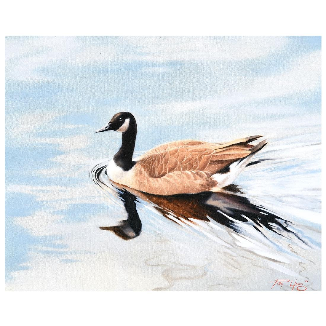 """Ray """"Paco"""" Young """"Goose on Water"""" oil on canvas"""