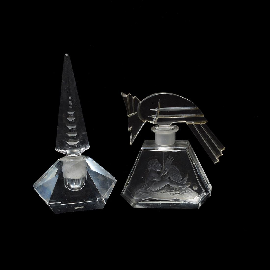 Two Large Cut Glass Perfume Bottles