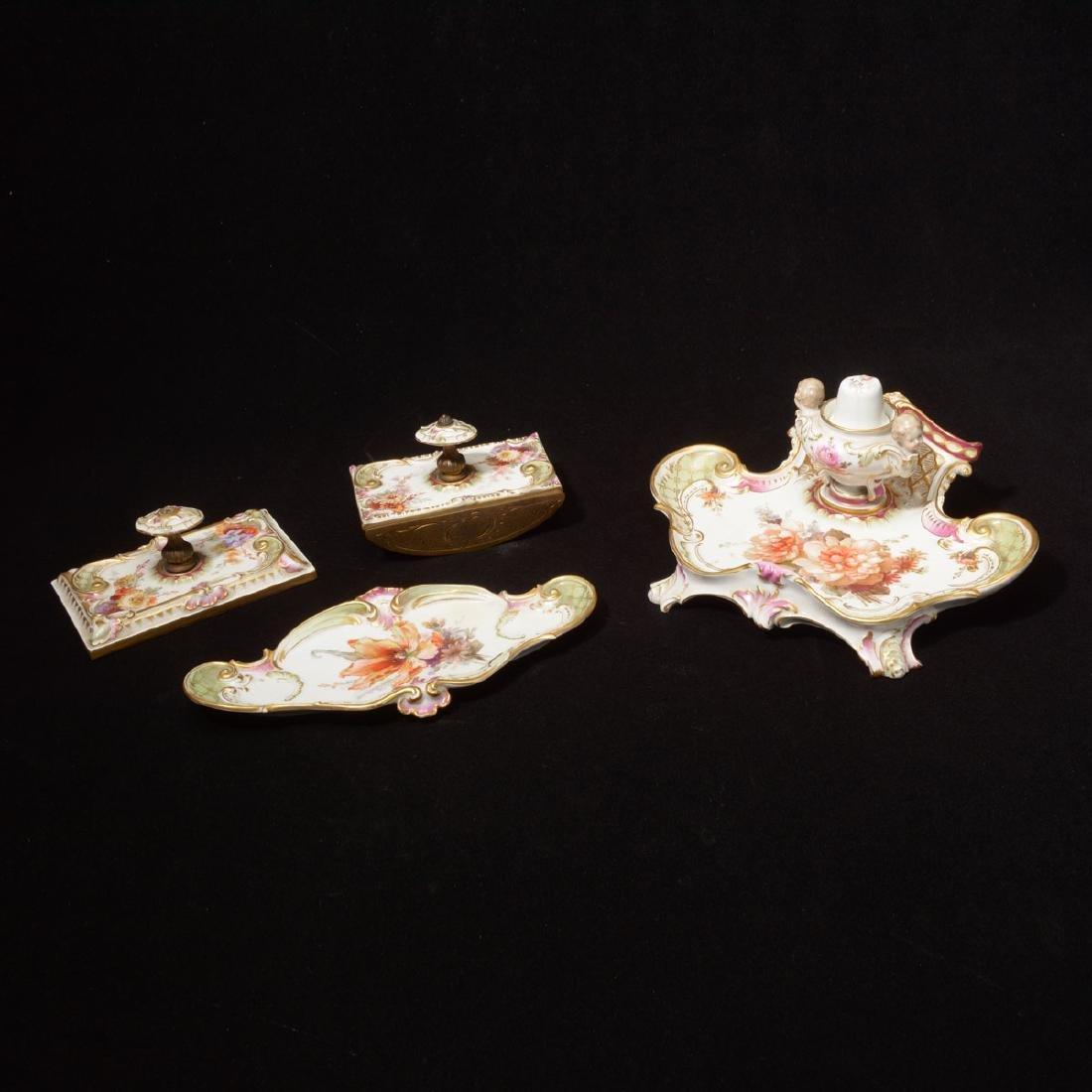KPM Porcelain Desk Set, Comprising Two Blotters, Ink
