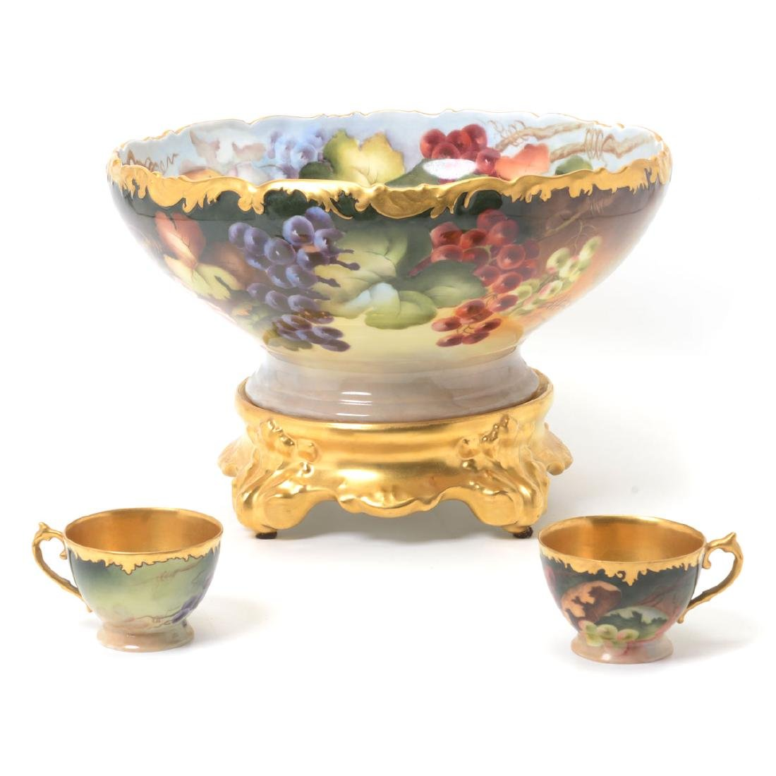 Limoges Punch Set: Bowl on Stand and Ten Cups.