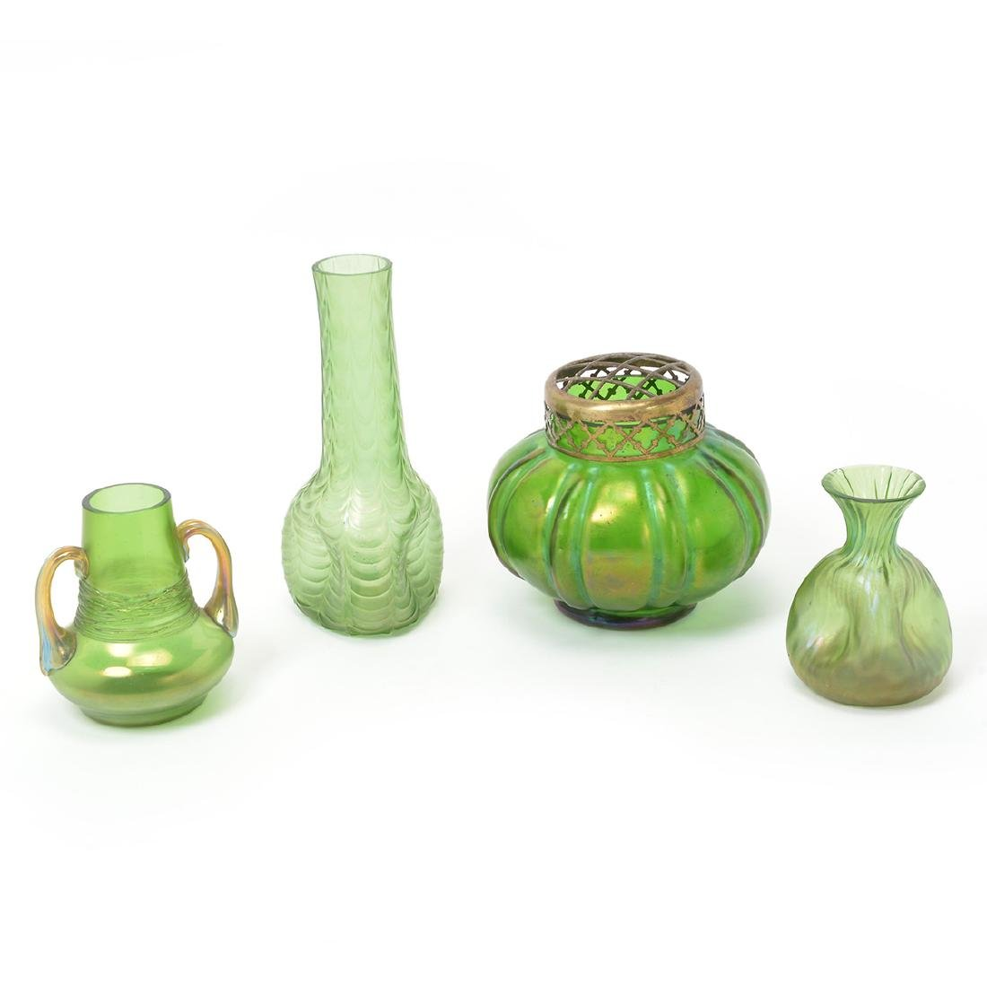 Austrian Loetz Type Green Glass Articles