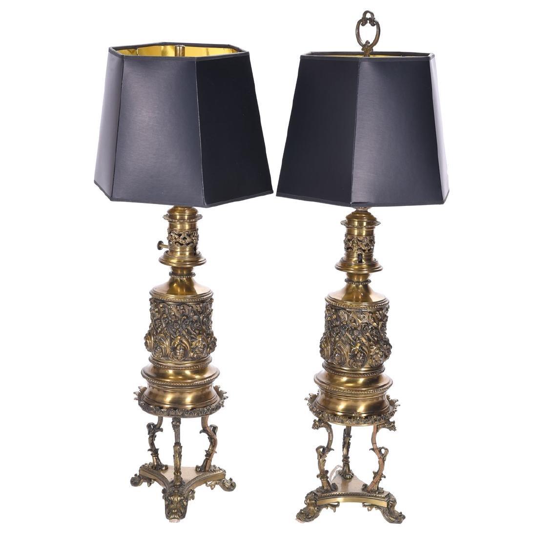 Pair of Renaissance Revival Gilt Metal Kerosene Lamps