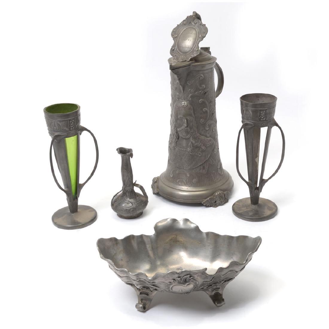 Group of Art Nouveau Pewter Items