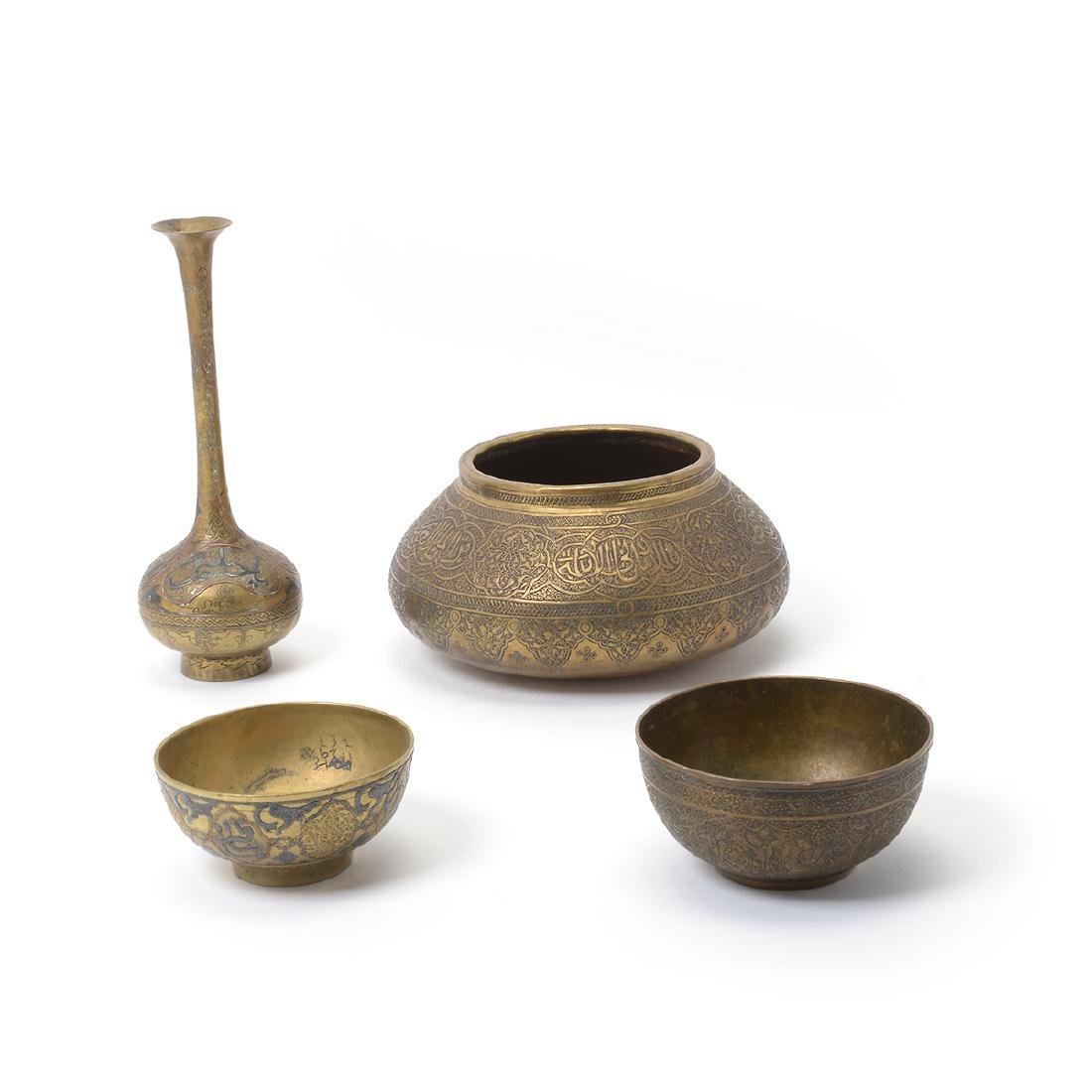 Three Middle Eastern Mixed Metal Vases