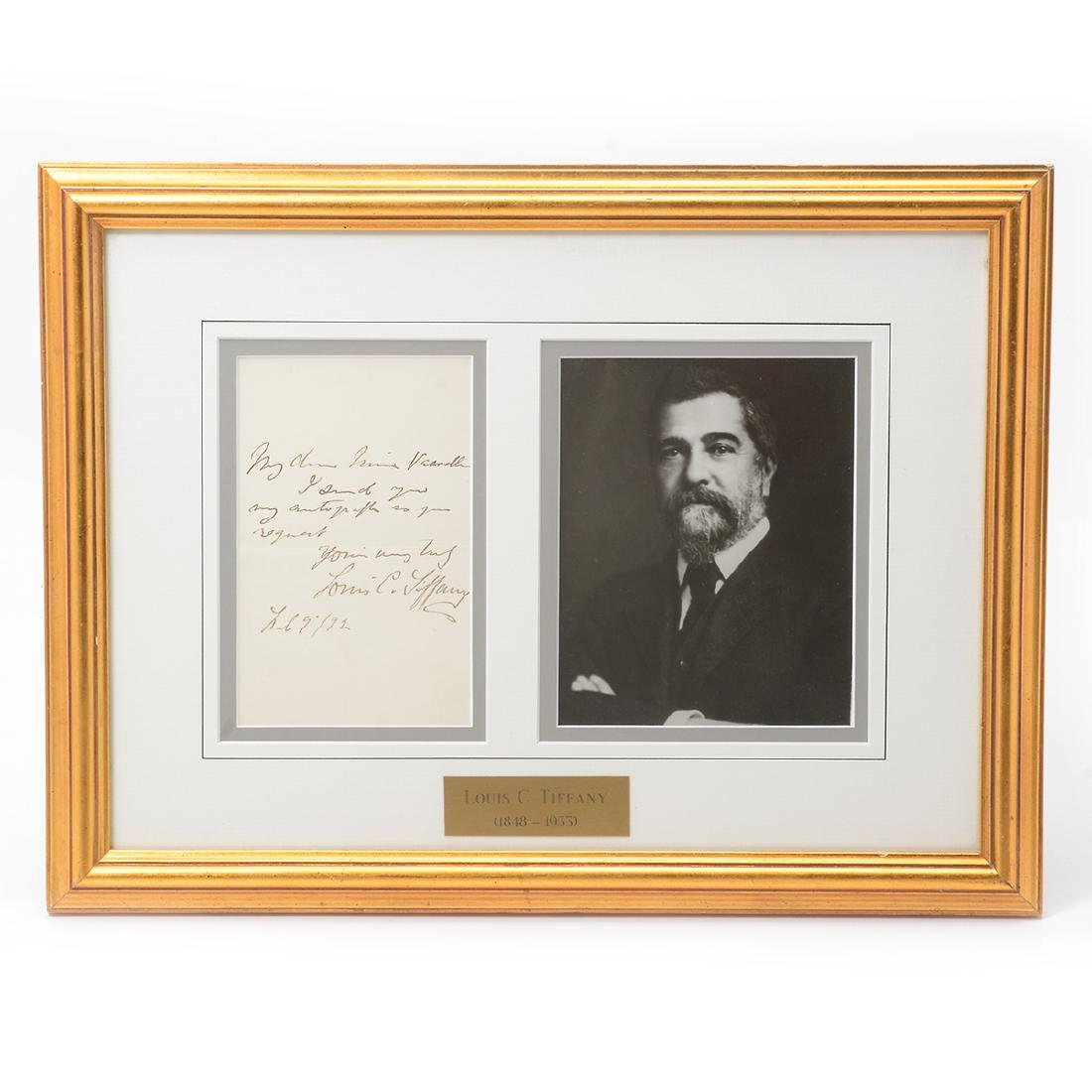 Signed Letter by Louis C. Tiffany Along with Photo,