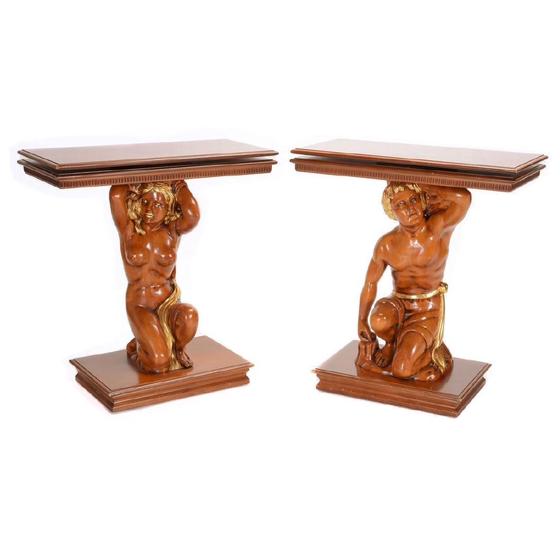 Pair of Italian Gilt Caryatid Console Tables