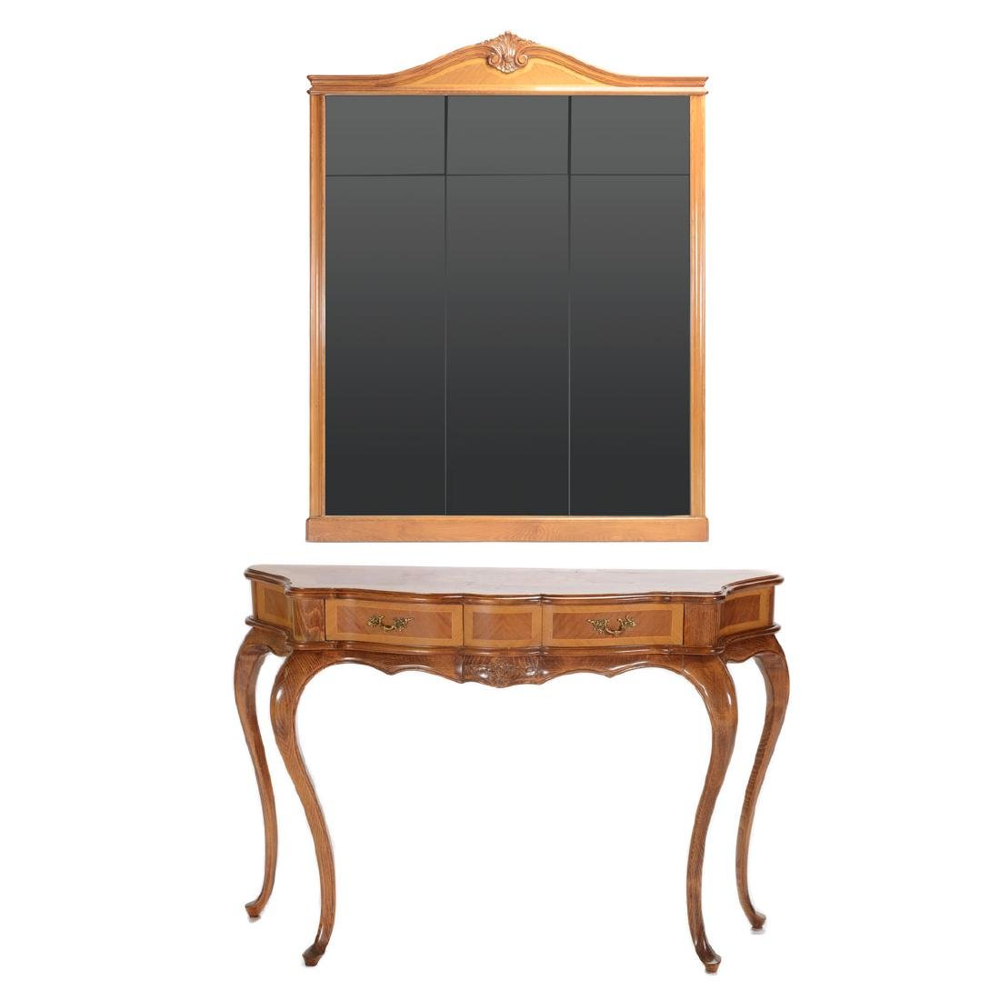 Italian Inlaid Console Table and Associated Mirror