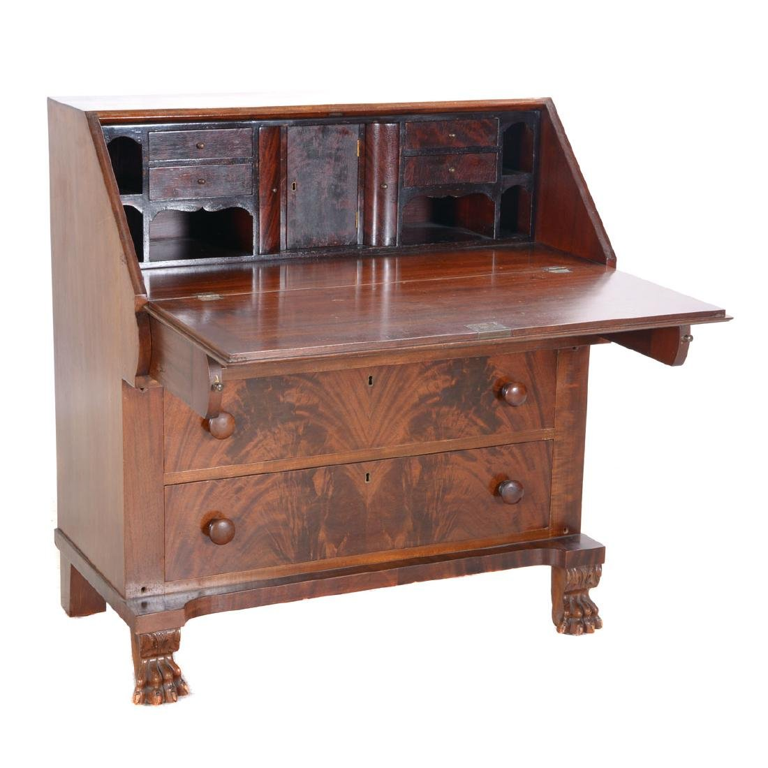 Chippendale Mahogany Slant Front Desk with Claw Feet