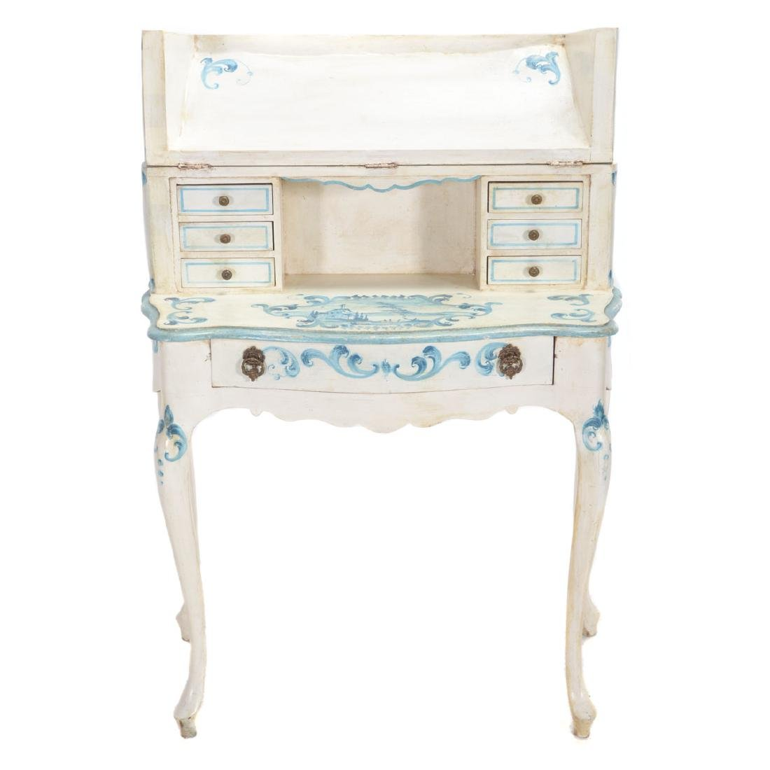 Italian Rococo Style Later Paint Decorated Desk, Late