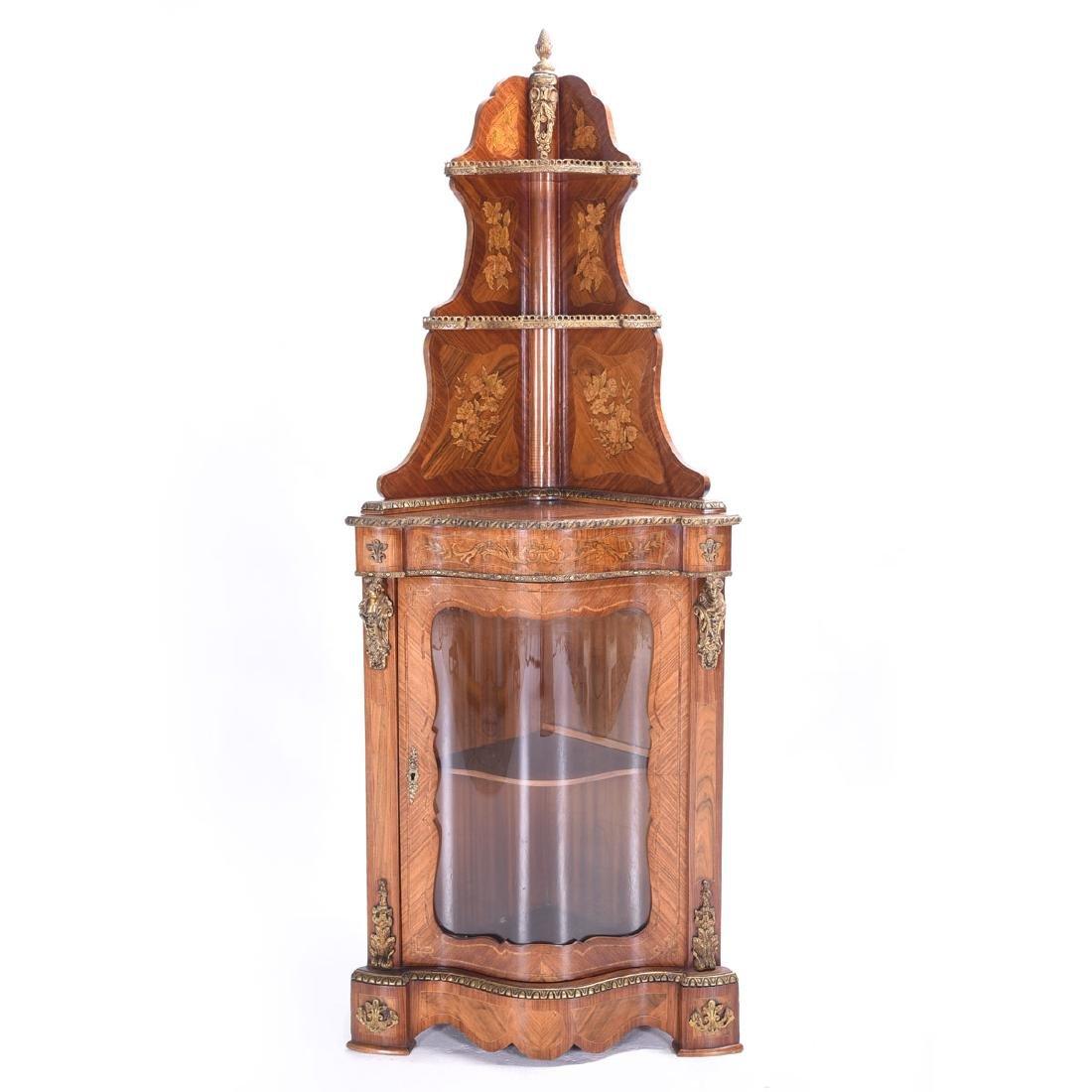 Louis XVI Style Serpentine Front Corner Cabinet