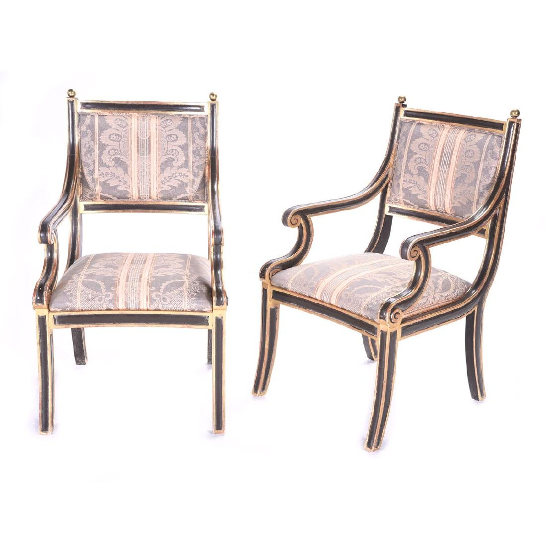 Pair of Regency Style Black and Gilt Armchairs