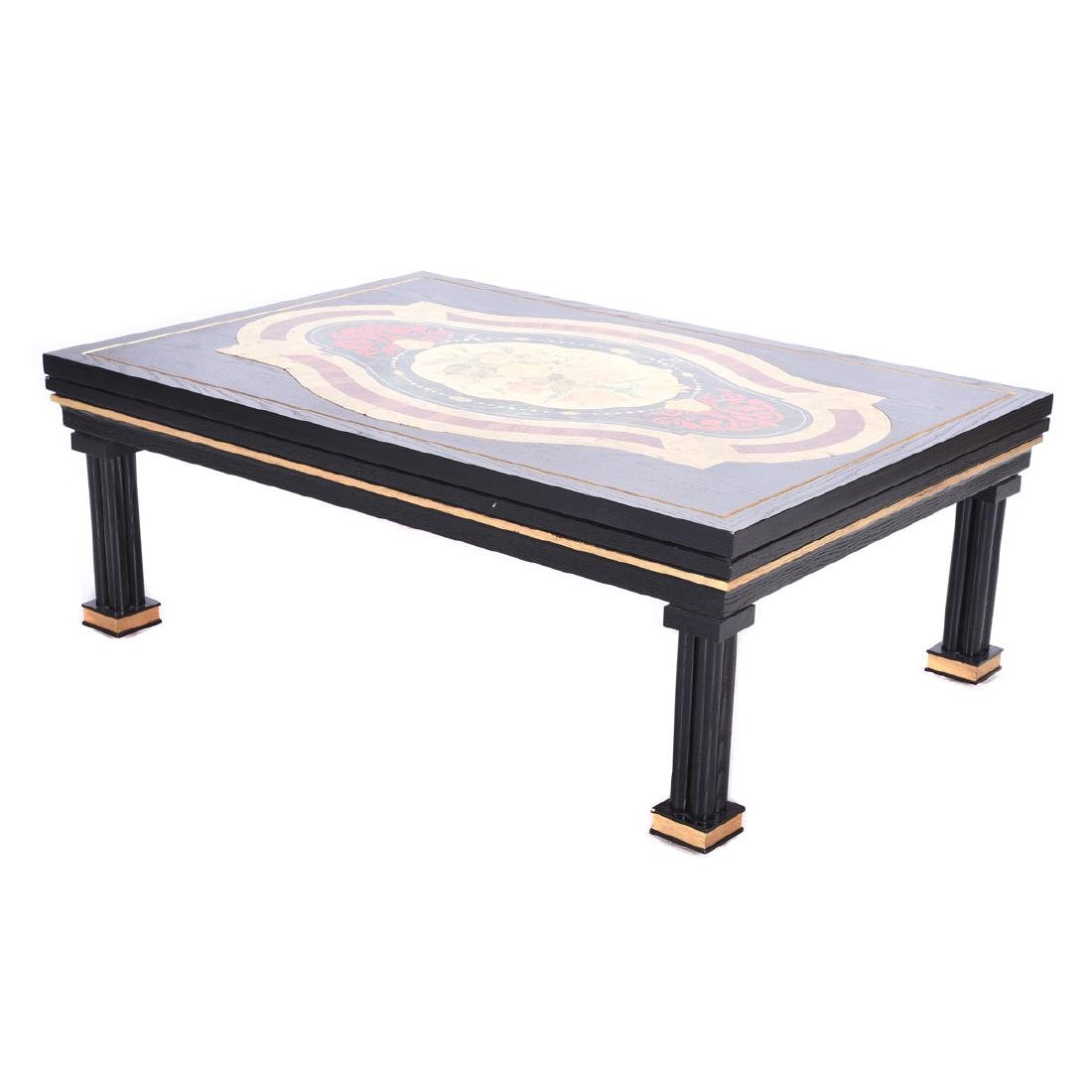 Baroque Style Ebonized and Gilt Coffee Table with