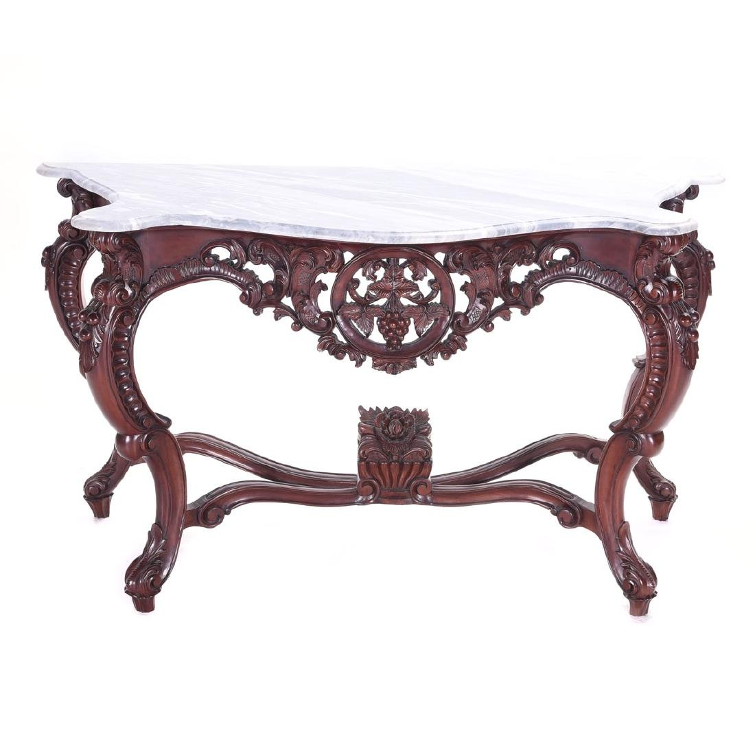 American Rococo Revival Console Table, with Marble Top