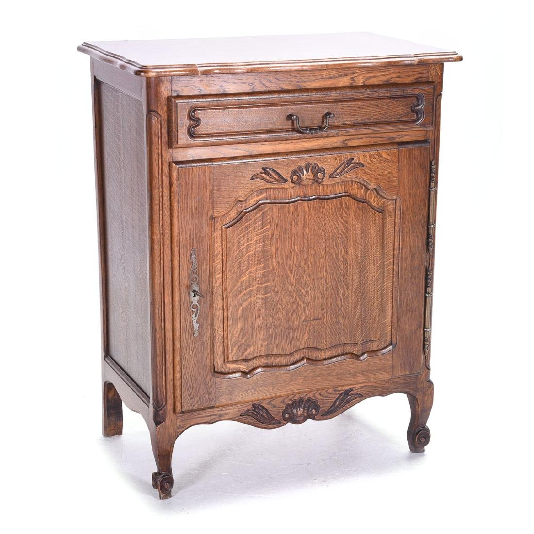 French Provincial Style Oak Single Drawer Cabinet