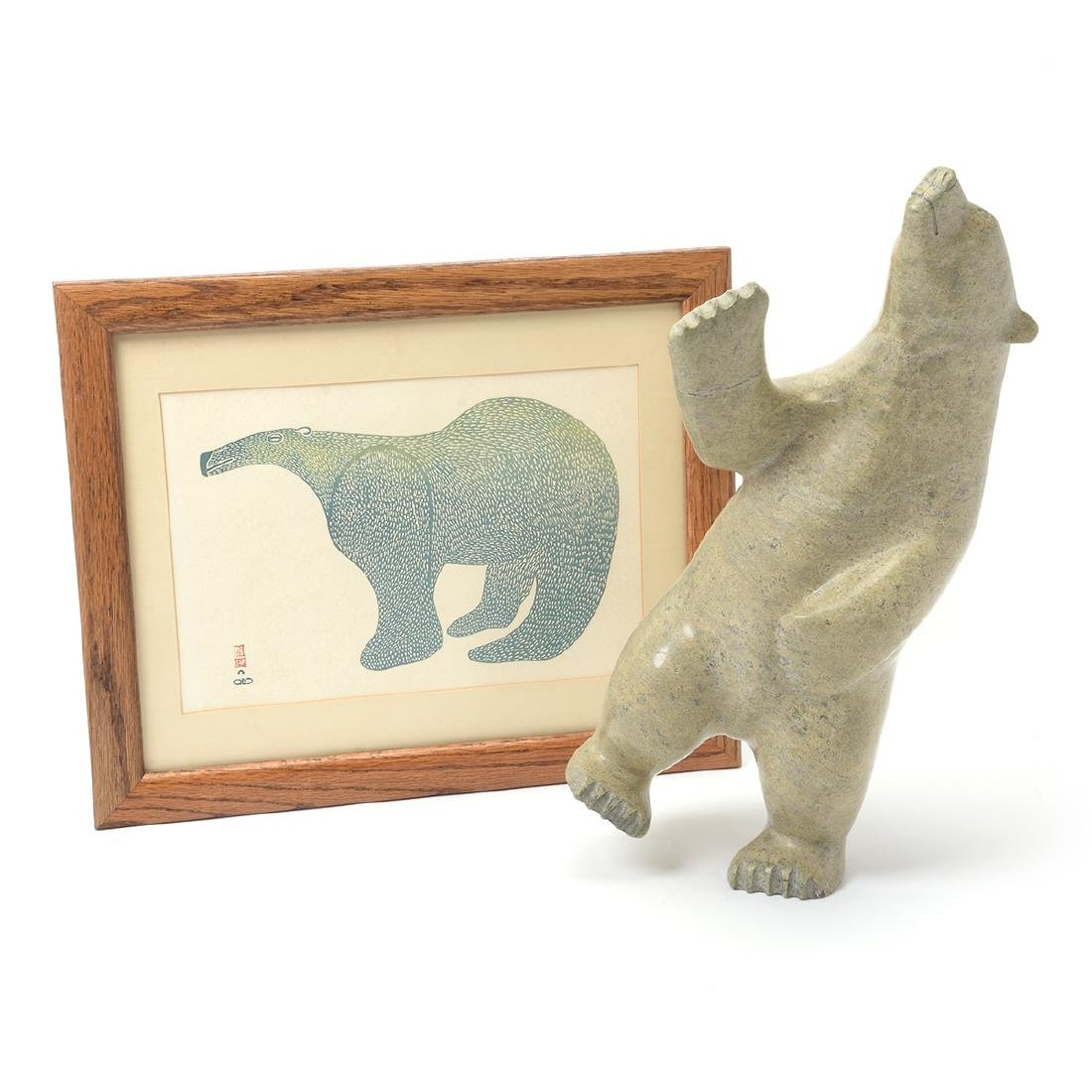 Woodblock inuit print and soapstone sculpture of bear