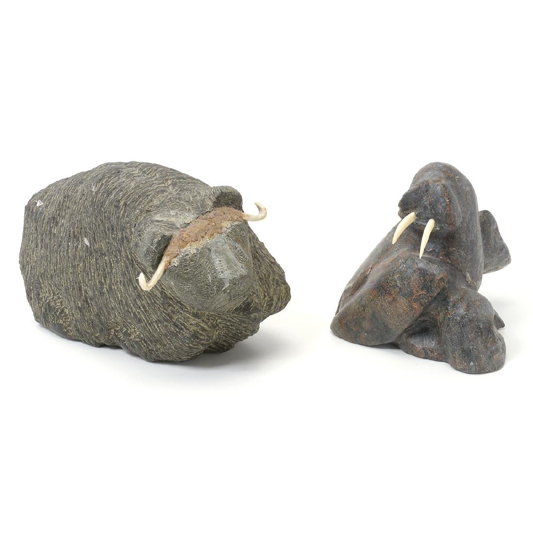 Two Inuit Soapstone Sculptures: Prehistoric Buffalo and